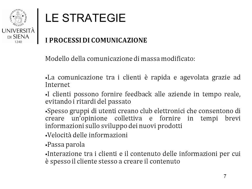 LE STRATEGIE I PROCESSI DI COMUNICAZIONE Modello della comunicazione di massa modificato: La comunicazione tra i clienti è rapida e agevolata grazie a