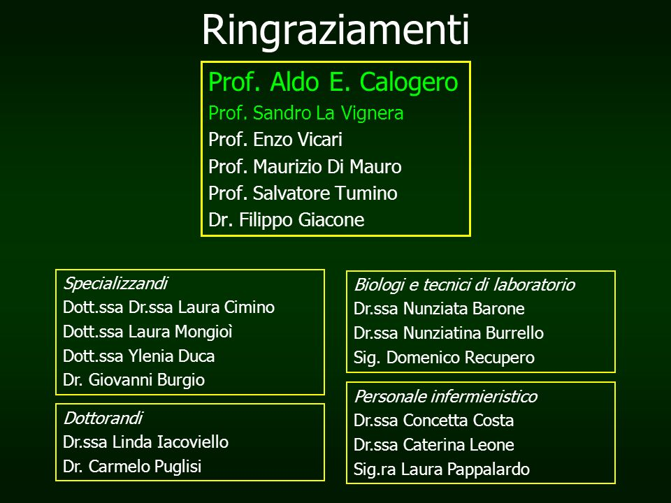 Ringraziamenti Prof.Aldo E. Calogero Prof. Sandro La Vignera Prof.
