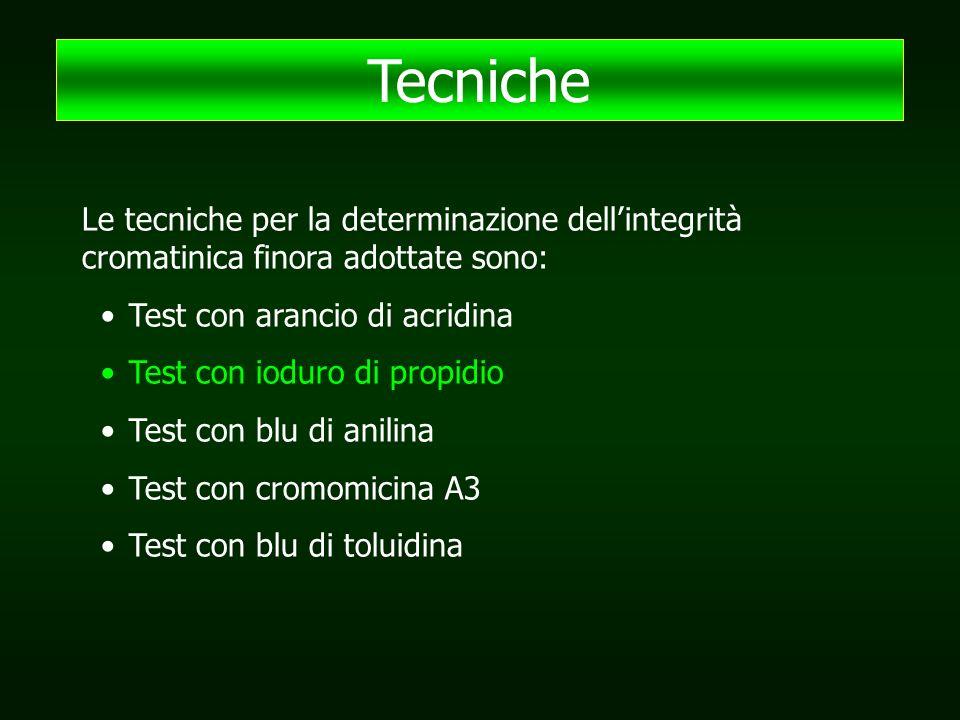 Le tecniche per la determinazione dell'integrità cromatinica finora adottate sono: Test con arancio di acridina Test con ioduro di propidio Test con blu di anilina Test con cromomicina A3 Test con blu di toluidina Tecniche