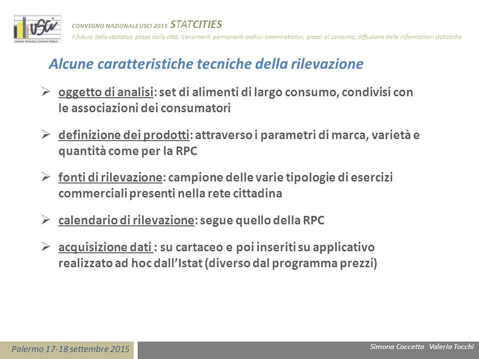  oggetto di analisi: set di alimenti di largo consumo, condivisi con le associazioni dei consumatori  definizione dei prodotti: attraverso i paramet
