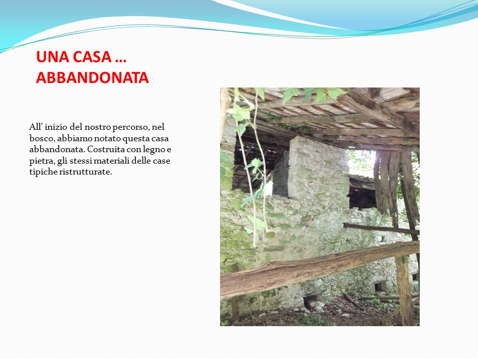 UNA CASA … ABBANDONATA All' inizio del nostro percorso, nel bosco, abbiamo notato questa casa abbandonata.