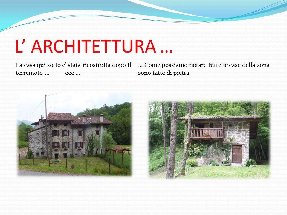 L' ARCHITETTURA … La casa qui sotto e' stata ricostruita dopo il terremoto … eee … … Come possiamo notare tutte le case della zona sono fatte di pietra.
