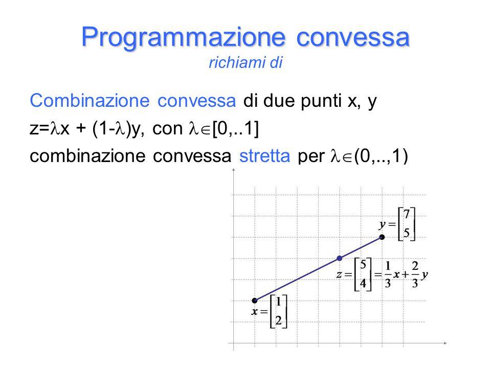 Combinazione convessa di due punti x, y z= x + (1- )y, con [0,..1] combinazione convessa stretta per (0,..,1) Programmazione convessa Programmazione convessa richiami di