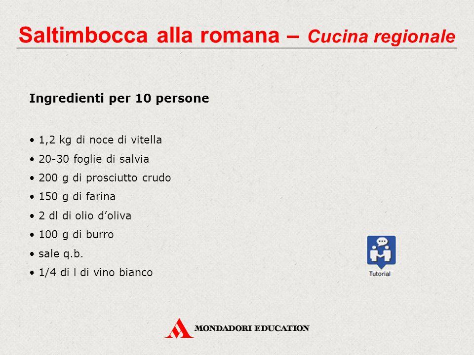 Saltimbocca alla romana – Cucina regionale Ingredienti per 10 persone 1,2 kg di noce di vitella 20-30 foglie di salvia 200 g di prosciutto crudo 150 g