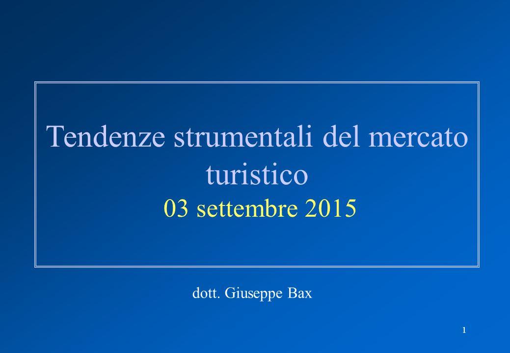 1 Tendenze strumentali del mercato turistico 03 settembre 2015 dott. Giuseppe Bax