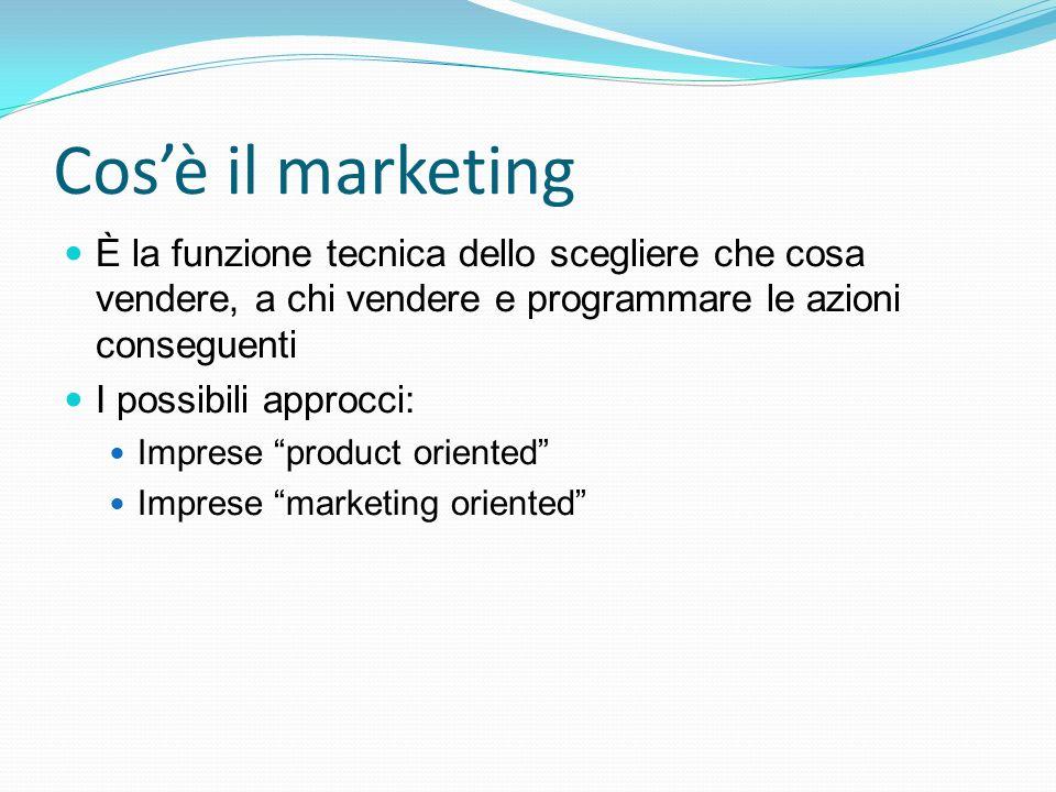 Cos'è il marketing È la funzione tecnica dello scegliere che cosa vendere, a chi vendere e programmare le azioni conseguenti I possibili approcci: Imp