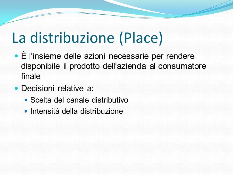 La distribuzione (Place) È l'insieme delle azioni necessarie per rendere disponibile il prodotto dell'azienda al consumatore finale Decisioni relative