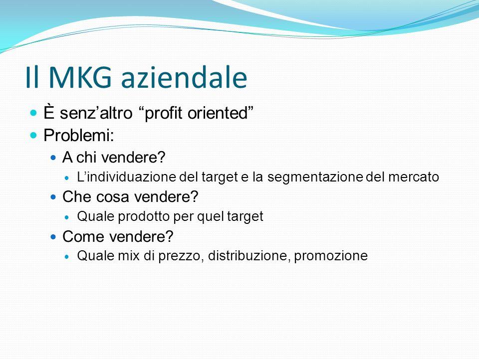 """Il MKG aziendale È senz'altro """"profit oriented"""" Problemi: A chi vendere? L'individuazione del target e la segmentazione del mercato Che cosa vendere?"""