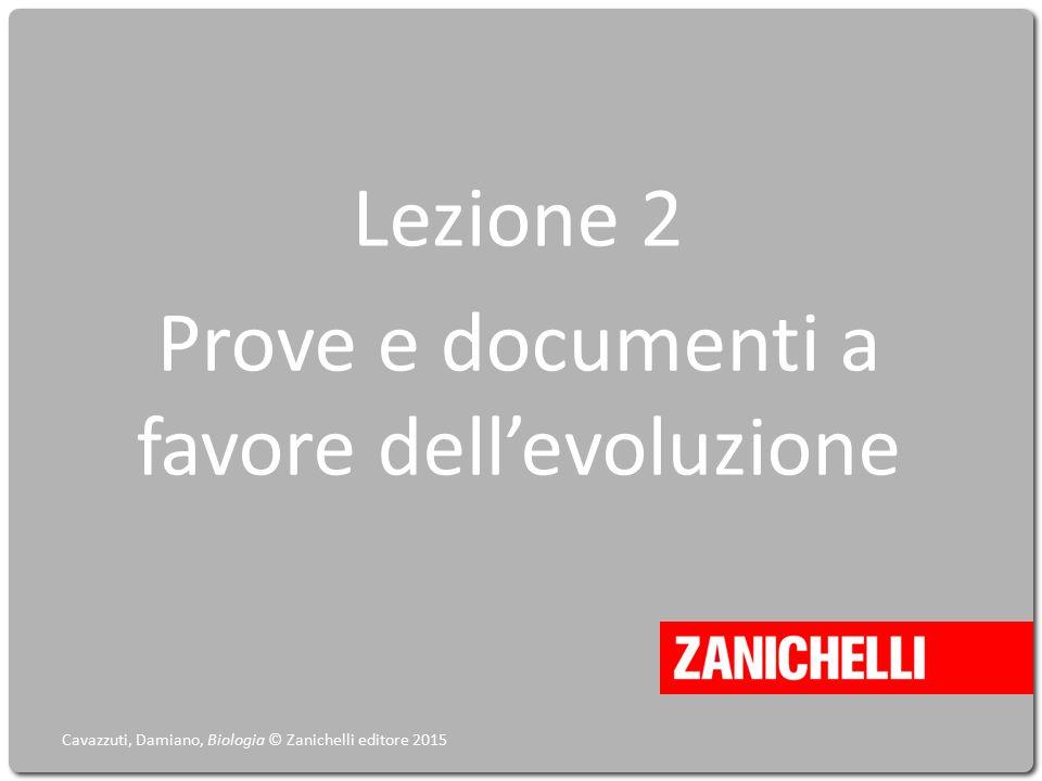 Lezione 2 Prove e documenti a favore dell'evoluzione Cavazzuti, Damiano, Biologia © Zanichelli editore 2015