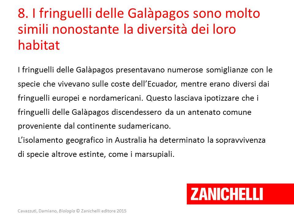 Cavazzuti, Damiano, Biologia © Zanichelli editore 2015 I fringuelli delle Galàpagos presentavano numerose somiglianze con le specie che vivevano sulle