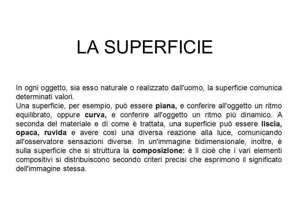 LA SUPERFICIE In ogni oggetto, sia esso naturale o realizzato dall'uomo, la superficie comunica determinati valori. Una superficie, per esempio, può e