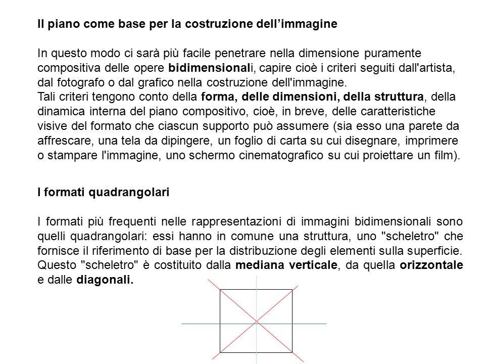 Il piano come base per Ia costruzione dell'immagine In questo modo ci sarà più facile penetrare nella dimensione puramente compositiva delle opere bidimensionali, capire cioè i criteri seguiti dall artista, dal fotografo o dal grafico nella costruzione dell immagine.