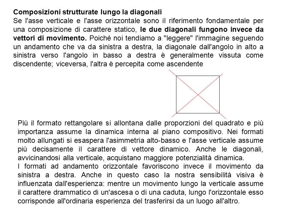 Composizioni strutturate lungo la diagonali Se l asse verticale e l asse orizzontale sono il riferimento fondamentale per una composizione di carattere statico, le due diagonali fungono invece da vettori di movimento.