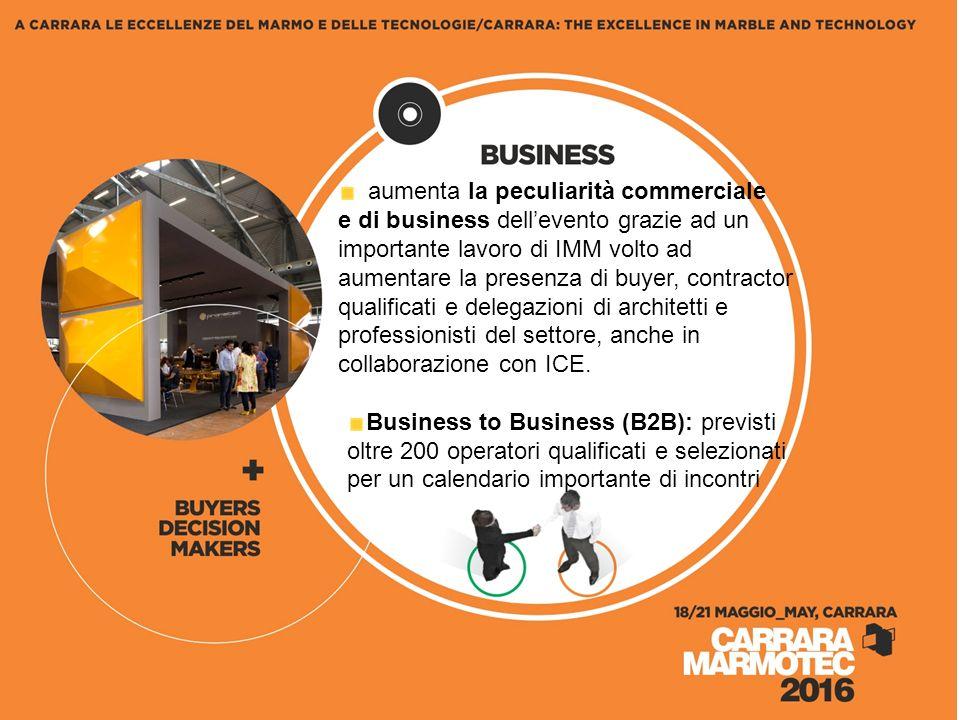 aumenta la peculiarità commerciale e di business dell'evento grazie ad un importante lavoro di IMM volto ad aumentare la presenza di buyer, contractor qualificati e delegazioni di architetti e professionisti del settore, anche in collaborazione con ICE.