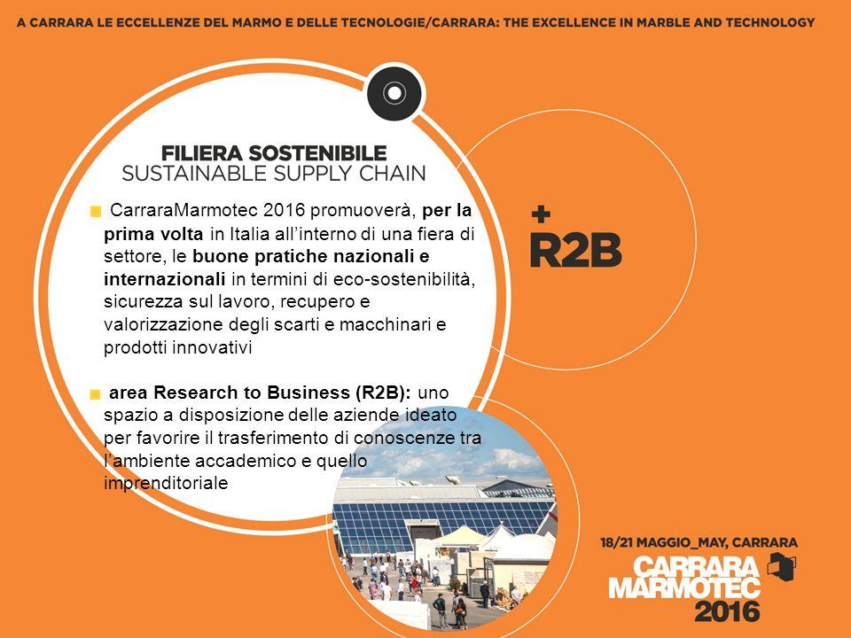 CarraraMarmotec 2016 promuoverà, per la prima volta in Italia all'interno di una fiera di settore, le buone pratiche nazionali e internazionali in termini di eco-sostenibilità, sicurezza sul lavoro, recupero e valorizzazione degli scarti e macchinari e prodotti innovativi area Research to Business (R2B): uno spazio a disposizione delle aziende ideato per favorire il trasferimento di conoscenze tra l'ambiente accademico e quello imprenditoriale