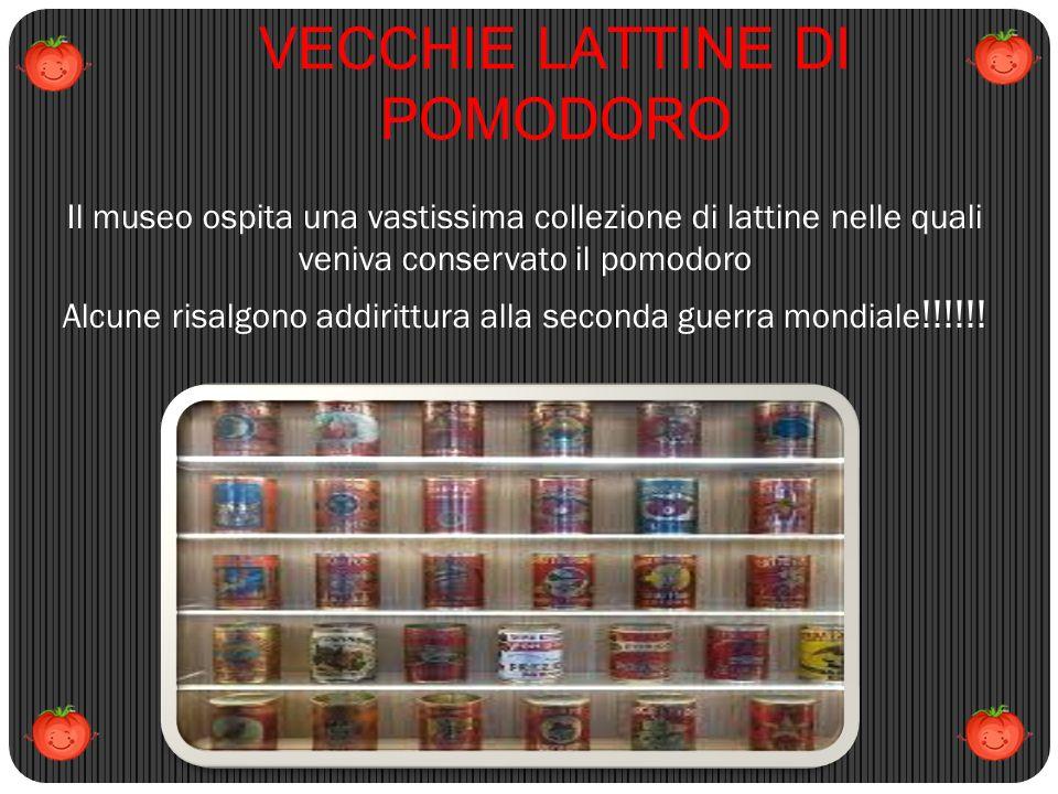 VECCHIE LATTINE DI POMODORO Il museo ospita una vastissima collezione di lattine nelle quali veniva conservato il pomodoro Alcune risalgono addirittur