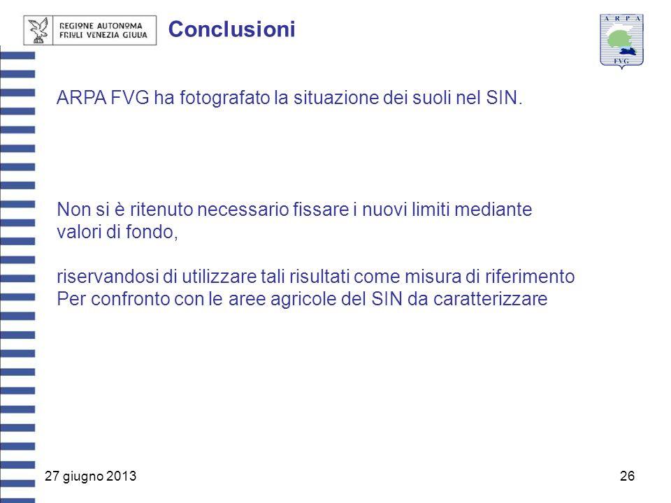 27 giugno 201326 Conclusioni ARPA FVG ha fotografato la situazione dei suoli nel SIN. Non si è ritenuto necessario fissare i nuovi limiti mediante val