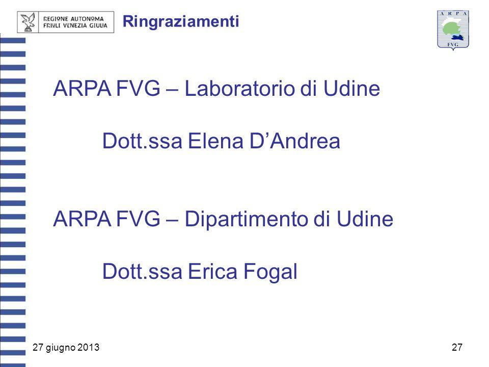 27 giugno 201327 Ringraziamenti ARPA FVG – Laboratorio di Udine Dott.ssa Elena D'Andrea ARPA FVG – Dipartimento di Udine Dott.ssa Erica Fogal