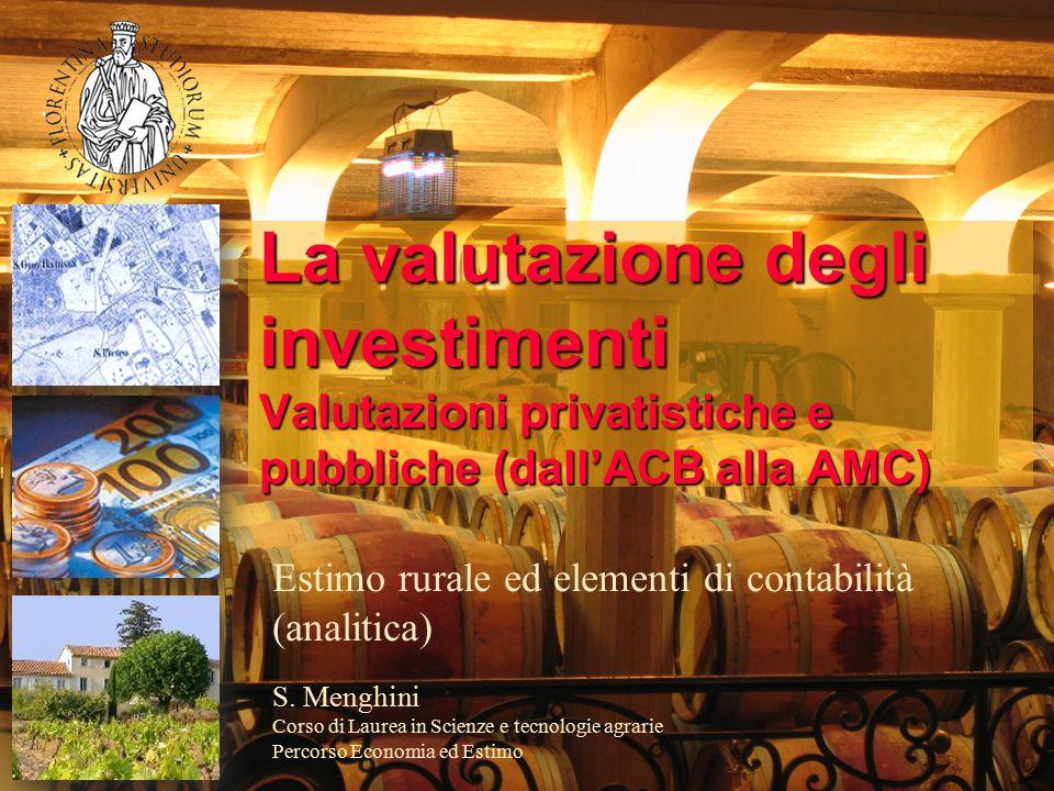 La valutazione degli investimenti Valutazioni privatistiche e pubbliche (dall'ACB alla AMC) Estimo rurale ed elementi di contabilità (analitica) S.