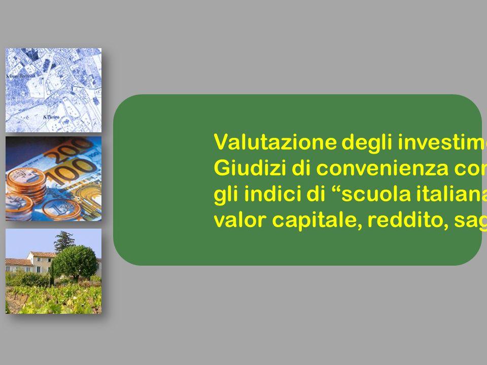 Valutazione degli investimenti Giudizi di convenienza con gli indici di scuola italiana : valor capitale, reddito, saggio