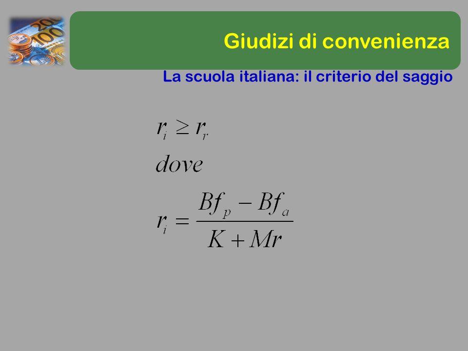 Giudizi di convenienza La scuola italiana: il criterio del saggio