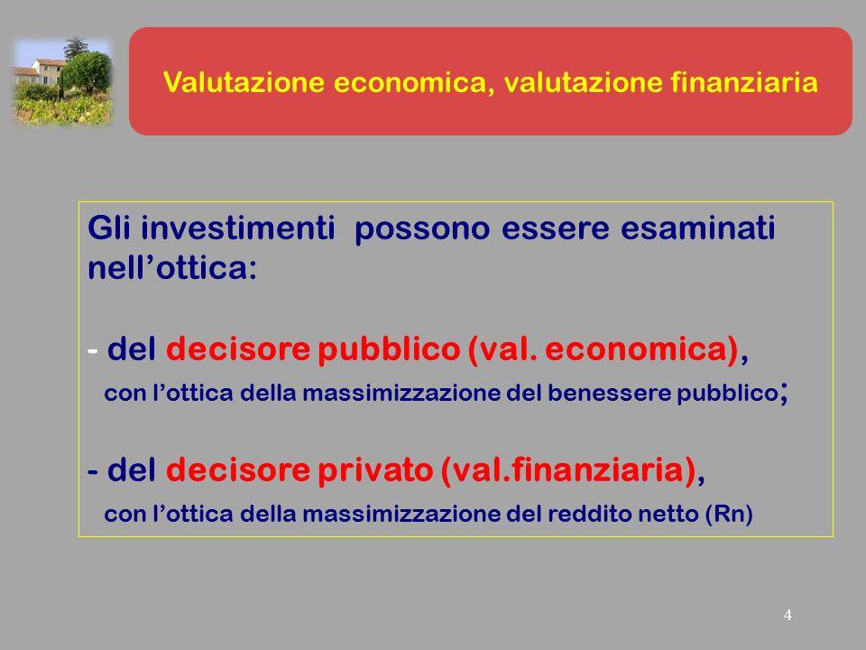 4 Gli investimenti possono essere esaminati nell'ottica: - del decisore pubblico (val.