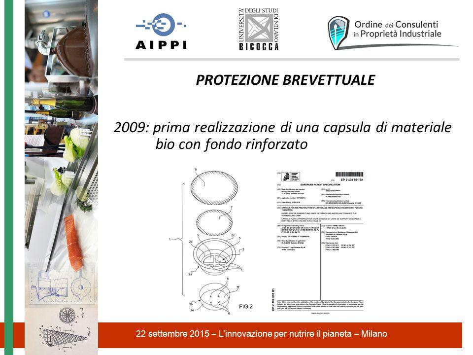 22 settembre 2015 – L'innovazione per nutrire il pianeta – Milano PROTEZIONE BREVETTUALE 2009: prima realizzazione di una capsula di materiale bio con fondo rinforzato