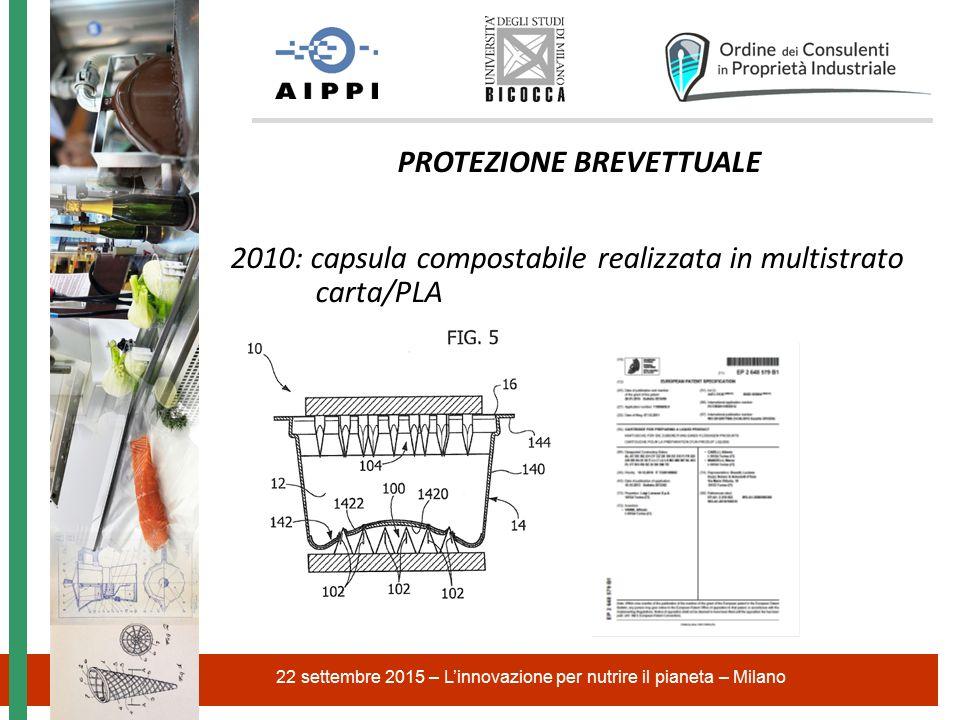 22 settembre 2015 – L'innovazione per nutrire il pianeta – Milano PROTEZIONE BREVETTUALE 2010: capsula compostabile realizzata in multistrato carta/PLA