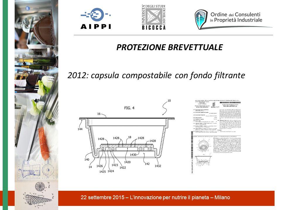 22 settembre 2015 – L'innovazione per nutrire il pianeta – Milano PROTEZIONE BREVETTUALE 2012: capsula compostabile con fondo filtrante