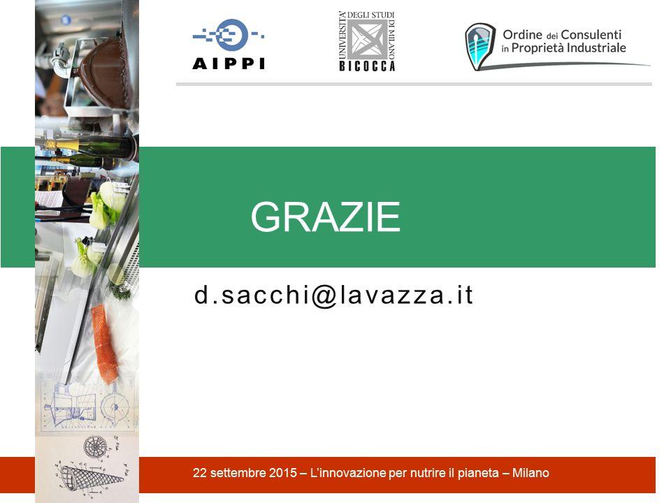 d.sacchi@lavazza.it GRAZIE 22 settembre 2015 – L'innovazione per nutrire il pianeta – Milano