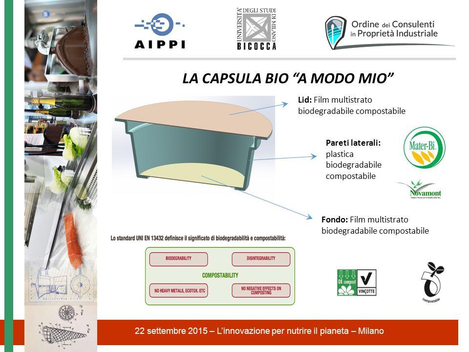 22 settembre 2015 – L'innovazione per nutrire il pianeta – Milano LA CAPSULA BIO A MODO MIO Pareti laterali: plastica biodegradabile compostabile Fondo: Film multistrato biodegradabile compostabile Lid: Film multistrato biodegradabile compostabile
