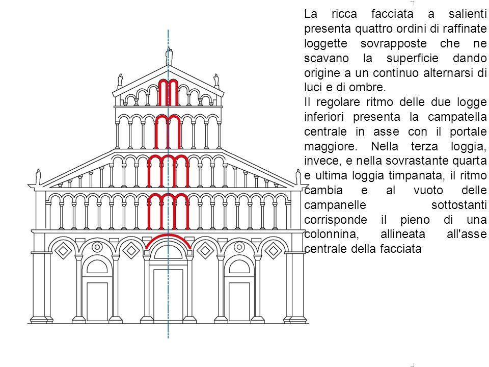 La ricca facciata a salienti presenta quattro ordini di raffinate loggette sovrapposte che ne scavano la superficie dando origine a un continuo altern