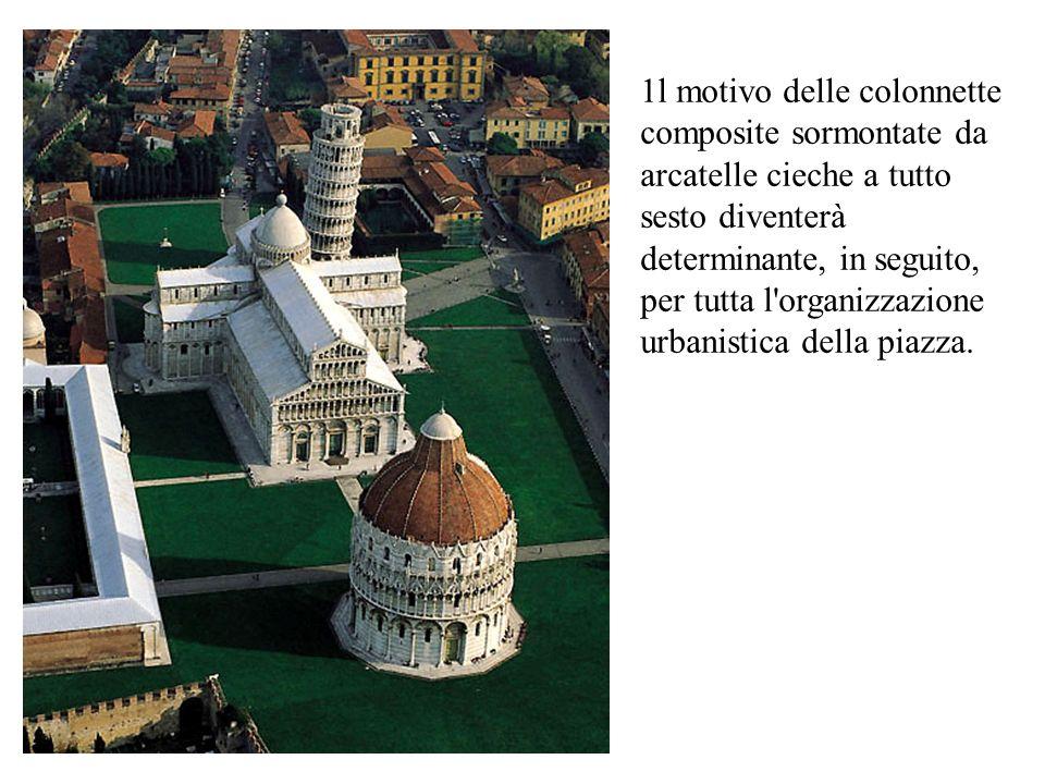 1l motivo delle colonnette composite sormontate da arcatelle cieche a tutto sesto diventerà determinante, in seguito, per tutta l'organizzazione urban