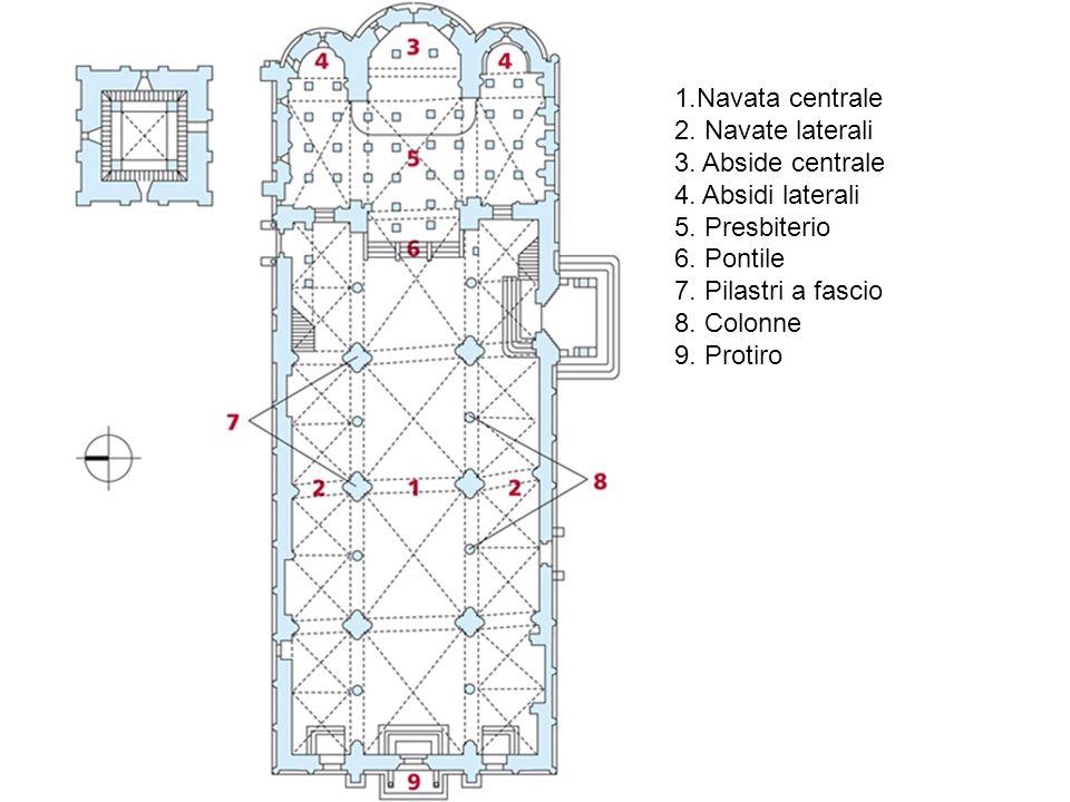 1.Navata centrale 2. Navate laterali 3. Abside centrale 4. Absidi laterali 5. Presbiterio 6. Pontile 7. Pilastri a fascio 8. Colonne 9. Protiro
