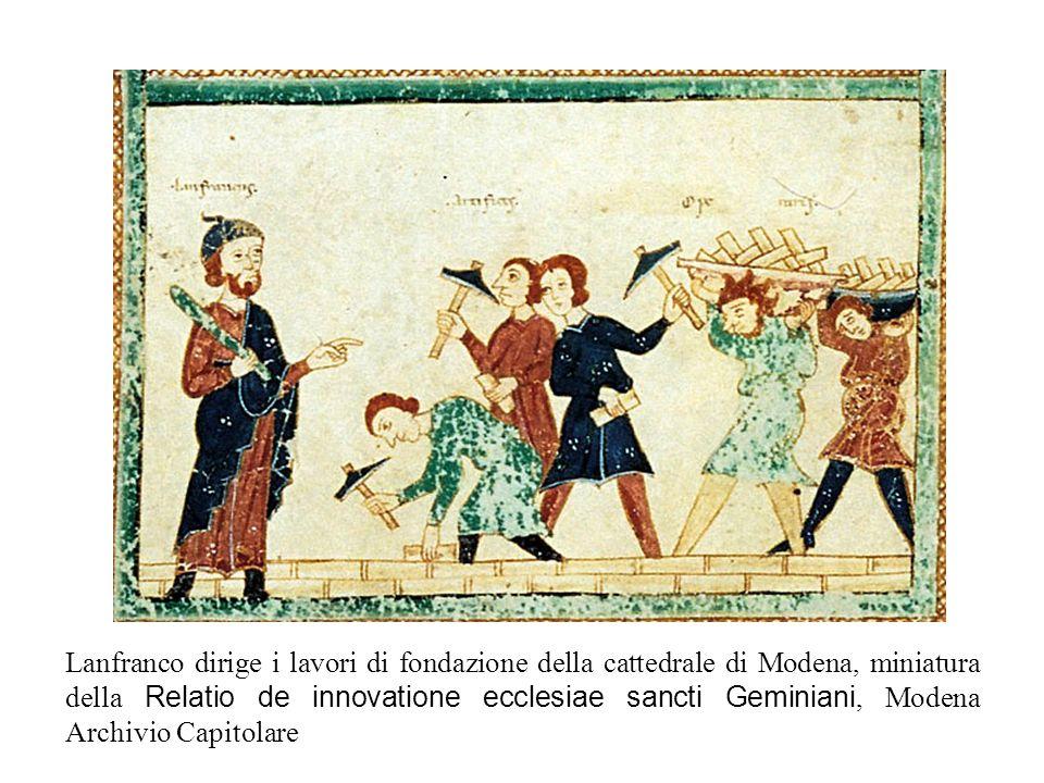 Lanfranco dirige i lavori di fondazione della cattedrale di Modena, miniatura della Relatio de innovatione ecclesiae sancti Geminiani, Modena Archivio