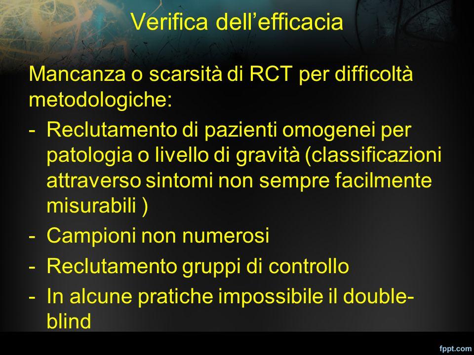 Verifica dell'efficacia Mancanza o scarsità di RCT per difficoltà metodologiche: -Reclutamento di pazienti omogenei per patologia o livello di gravità