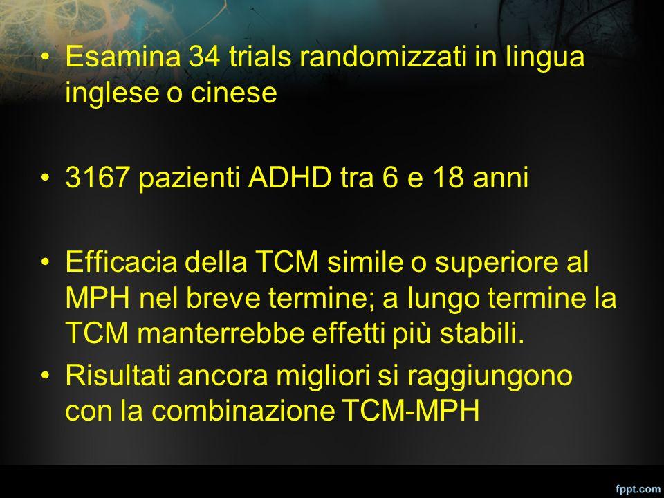 Esamina 34 trials randomizzati in lingua inglese o cinese 3167 pazienti ADHD tra 6 e 18 anni Efficacia della TCM simile o superiore al MPH nel breve t
