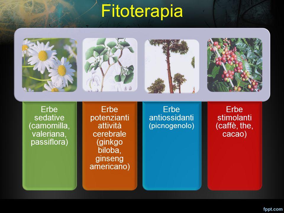Fitoterapia Erbe sedative (camomilla, valeriana, passiflora) Erbe potenzianti attività cerebrale (ginkgo biloba, ginseng americano) Erbe antiossidanti
