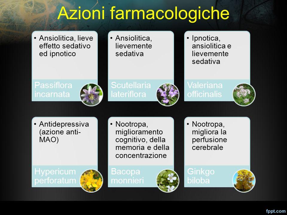 Azioni farmacologiche Ansiolitica, lieve effetto sedativo ed ipnotico Passiflora incarnata Ansiolitica, lievemente sedativa Scutellaria lateriflora Ip