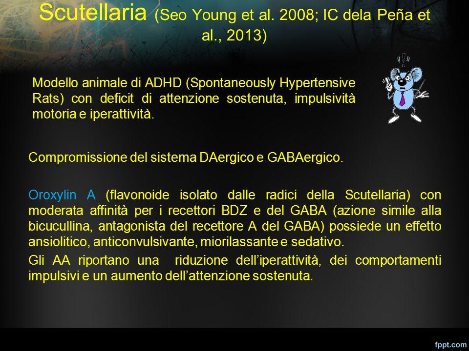Scutellaria (Seo Young et al. 2008; IC dela Peña et al., 2013) Compromissione del sistema DAergico e GABAergico. Oroxylin A (flavonoide isolato dalle