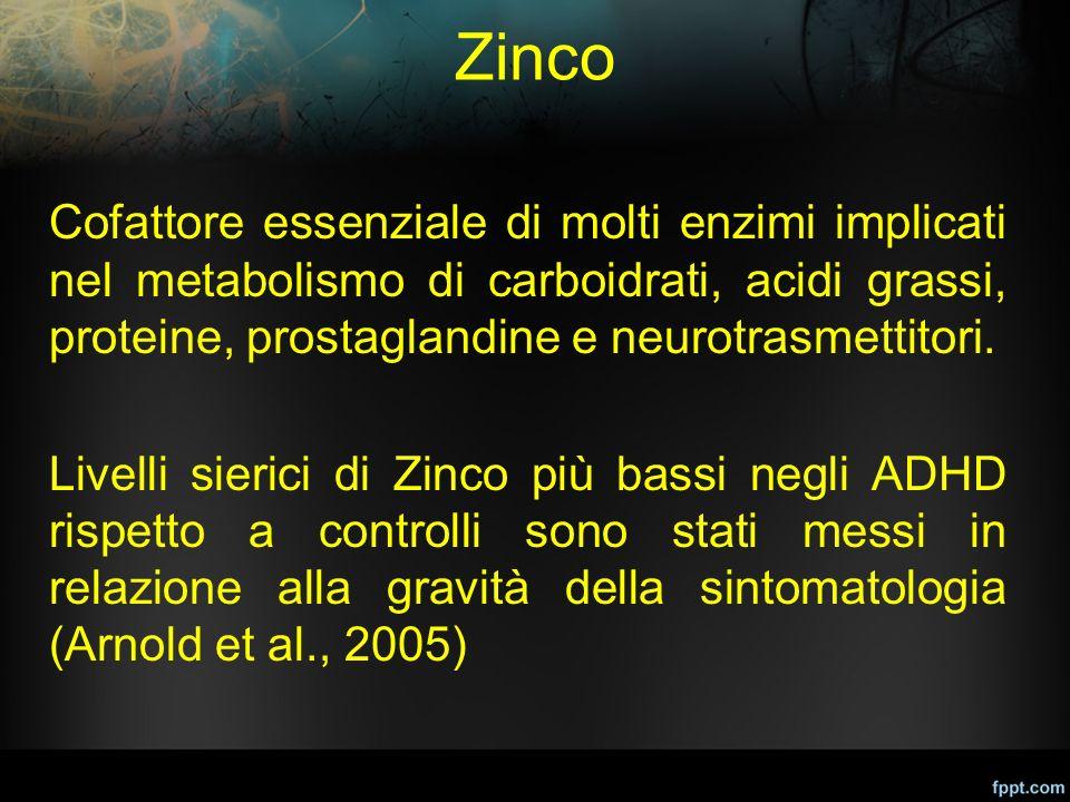 Zinco Cofattore essenziale di molti enzimi implicati nel metabolismo di carboidrati, acidi grassi, proteine, prostaglandine e neurotrasmettitori. Live