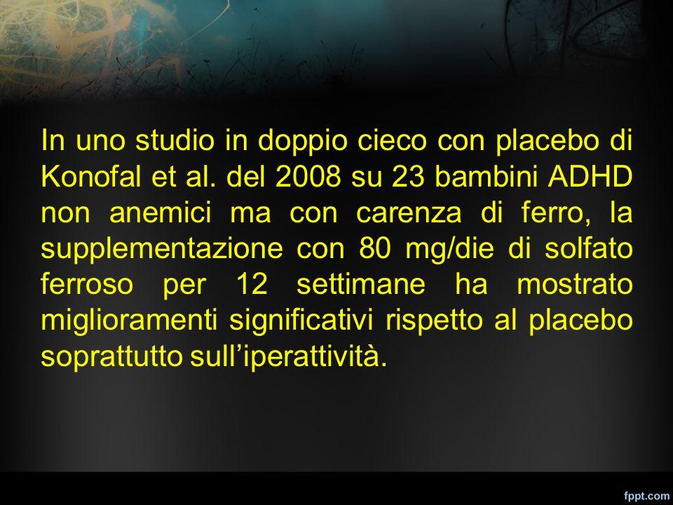 In uno studio in doppio cieco con placebo di Konofal et al. del 2008 su 23 bambini ADHD non anemici ma con carenza di ferro, la supplementazione con 8