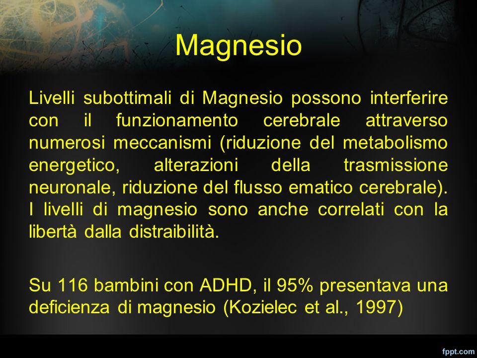 Magnesio Livelli subottimali di Magnesio possono interferire con il funzionamento cerebrale attraverso numerosi meccanismi (riduzione del metabolismo