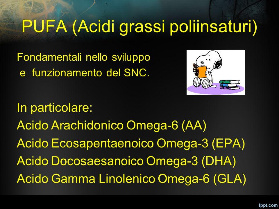 PUFA (Acidi grassi poliinsaturi) Fondamentali nello sviluppo e funzionamento del SNC. In particolare: Acido Arachidonico Omega-6 (AA) Acido Ecosapenta