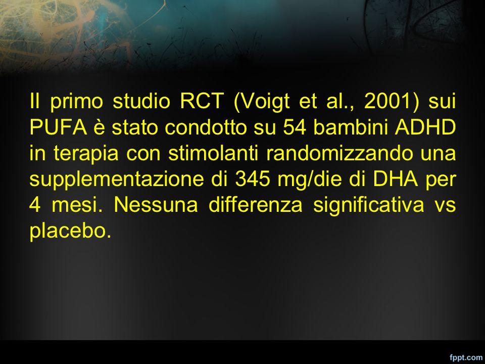 Il primo studio RCT (Voigt et al., 2001) sui PUFA è stato condotto su 54 bambini ADHD in terapia con stimolanti randomizzando una supplementazione di