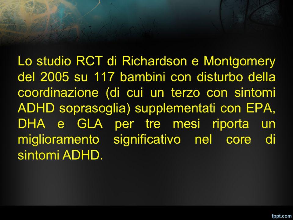 Lo studio RCT di Richardson e Montgomery del 2005 su 117 bambini con disturbo della coordinazione (di cui un terzo con sintomi ADHD soprasoglia) suppl