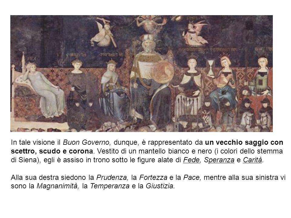 In tale visione il Buon Governo, dunque, è rappresentato da un vecchio saggio con scettro, scudo e corona. Vestito di un mantello bianco e nero (i col