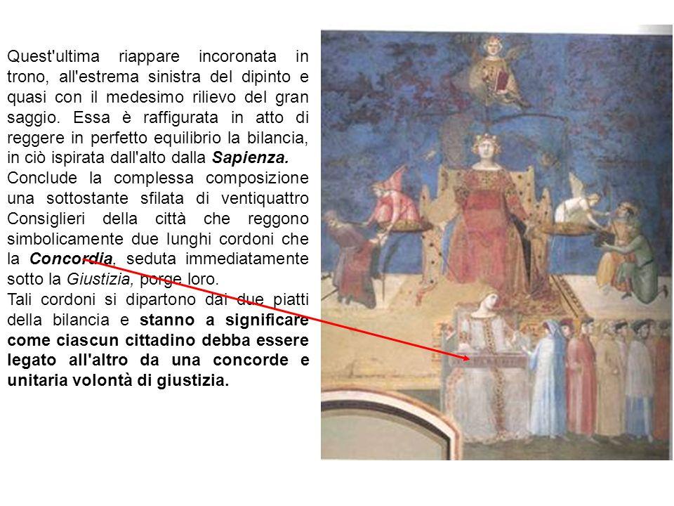 Quest'ultima riappare incoronata in trono, all'estrema sinistra del dipinto e quasi con il medesimo rilievo del gran saggio. Essa è raffigurata in att