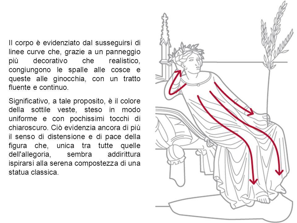 Il corpo è evidenziato dal susseguirsi di linee curve che, grazie a un panneggio più decorativo che realistico, congiungono le spalle alle cosce e que