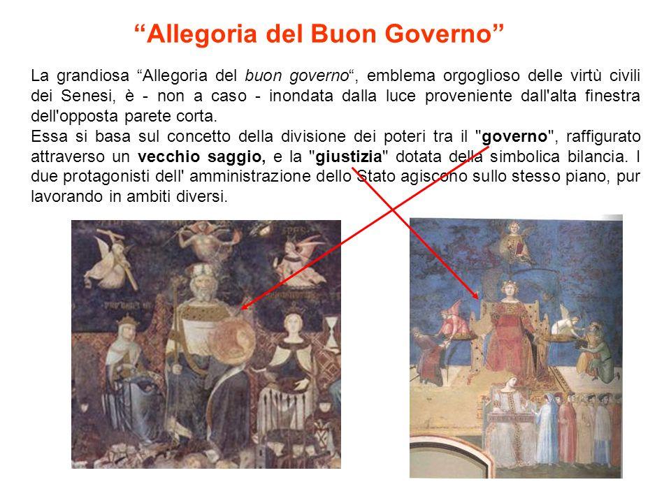 """La grandiosa """"Allegoria del buon governo"""", emblema orgoglioso delle virtù civili dei Senesi, è - non a caso - inondata dalla luce proveniente dall'alt"""